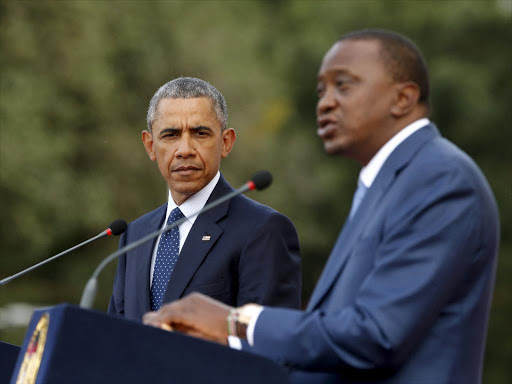 Former US President Barack Obama and President Uhuru Kenyatta hold a joint news conference at State House in Nairobi July 25, 2015. /REUTERS