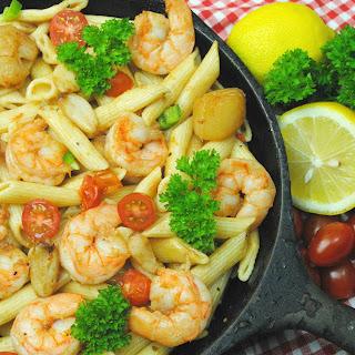 Cast Iron Cajun Seafood Pasta.
