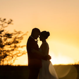 Sunset by Lood Goosen (LWG Photo) - Wedding Bride & Groom ( bride, love, wedding dress, groom, couple, wedding photography, wedding photographer, weddings, wedding day, wedding photographers, brides, grooms, sunset, silhouette, wedding )