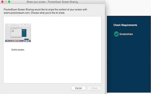 ProctorExam Screen Sharing
