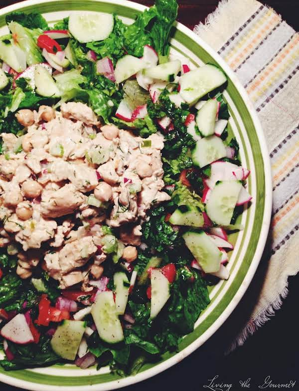 Easy And Light Chicken Salad With Fresh Salad Gree