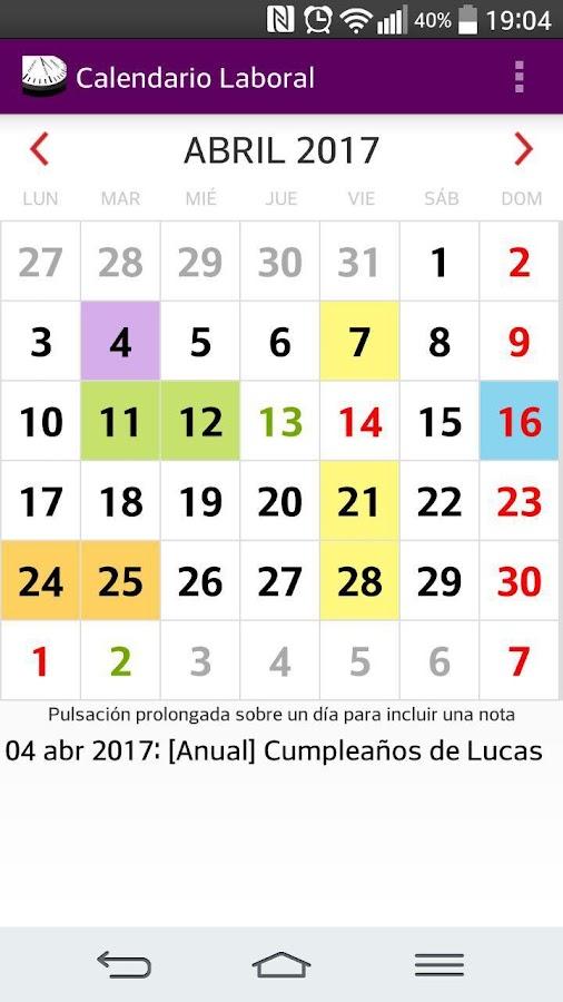 Calendario laboral espa a 2018 festivos 2018 android for Festivos valladolid 2017
