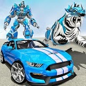 US Police Transform Robot Car White Tiger Game icon