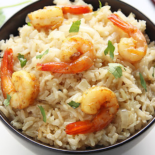 Coconut Brown Rice with Curried Shrimp.