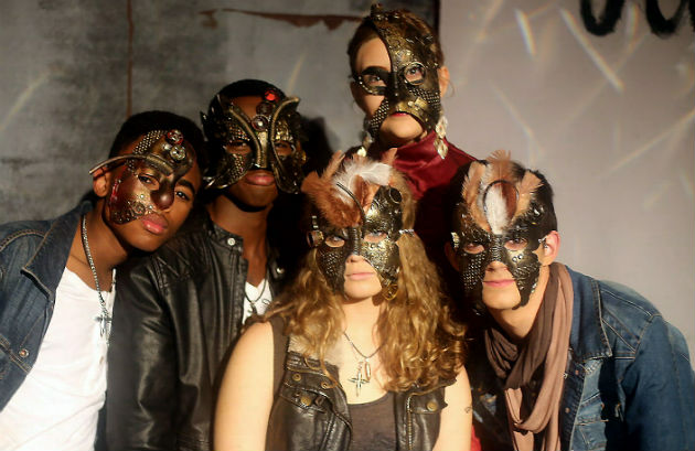 Alexander Road High School pupils, back, from left, Liyema Ntini, Lonwabo Nyezwa, Megan Calder and, front, Emma Saunders and Nathan van As wear their 'Romeo and Juliet' masks