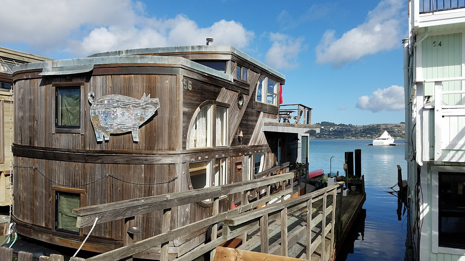 Floating Homes of Sausalito. There are multiple piers where neighborhoods of floating homes are docked in Sausalito, just 30 minutes north of San Francisco, and the one I visited were the docks at Waldo Point Harbor.