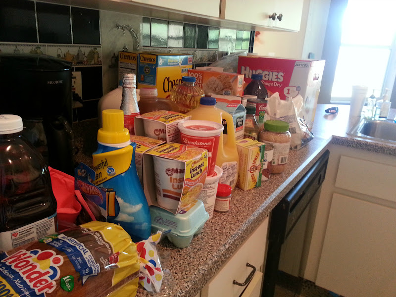 Photo: Here is our haul of groceries and household items. I even got some ramen noodles for my husband to make for lunch because this cook is going to be out of commission for a few days after the baby!