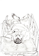 Photo: 發作2012.07.28鋼筆 人在監獄有特殊疾病總是格外辛苦,這位他癲癇不時發作,還好其他收容人多照顧著他,大家在慌忙間把他扛進醫療中心急診,他到能下床時看見一旁的我第一句話卻是: 「可以讓我看看你剛剛畫的嗎?」 「呃....好....」 「哎吆!」他慘叫了聲:「怎麼少了一隻拖鞋!」