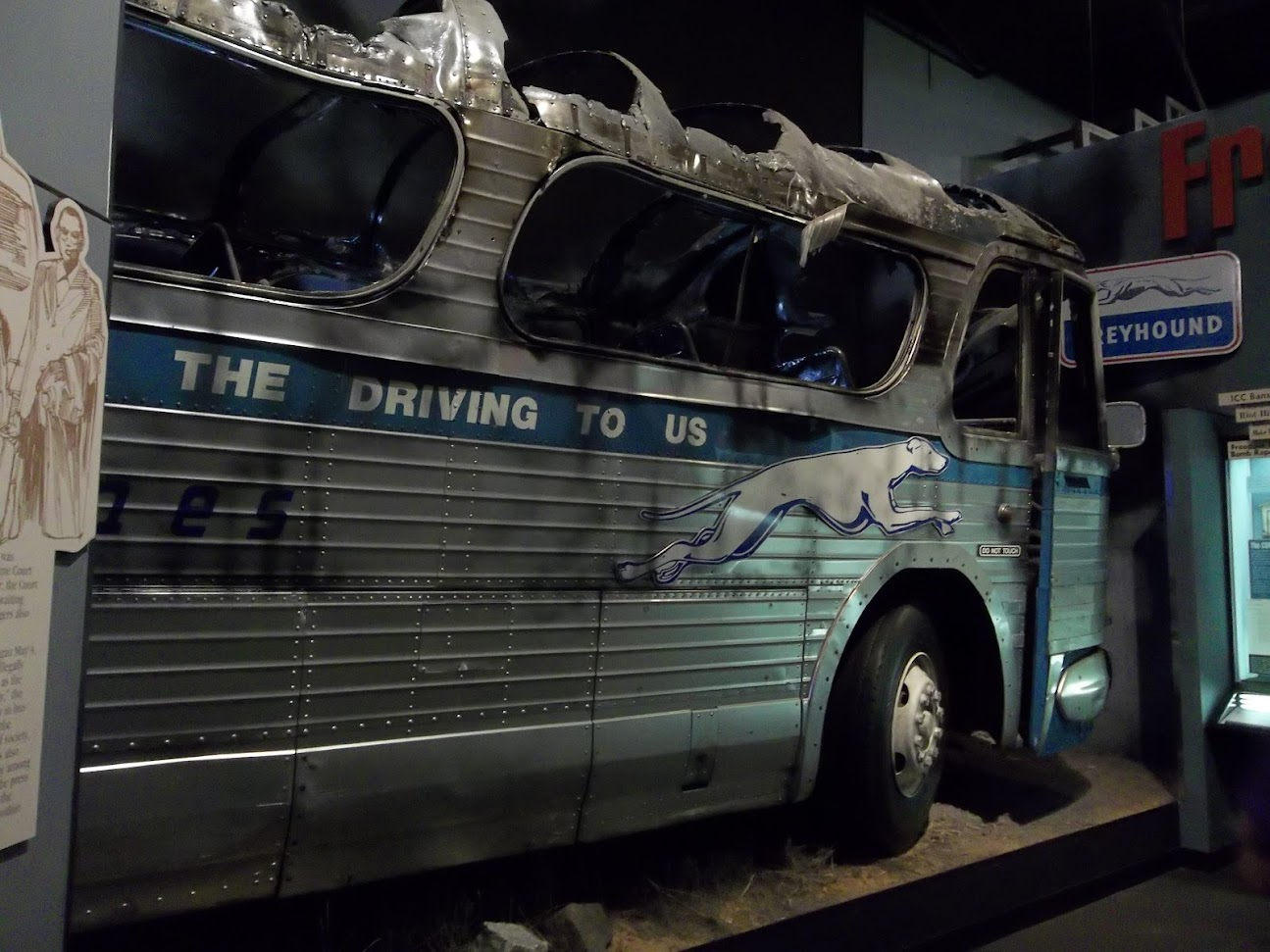 burned Greyhound bus at the Civil Rights Museum