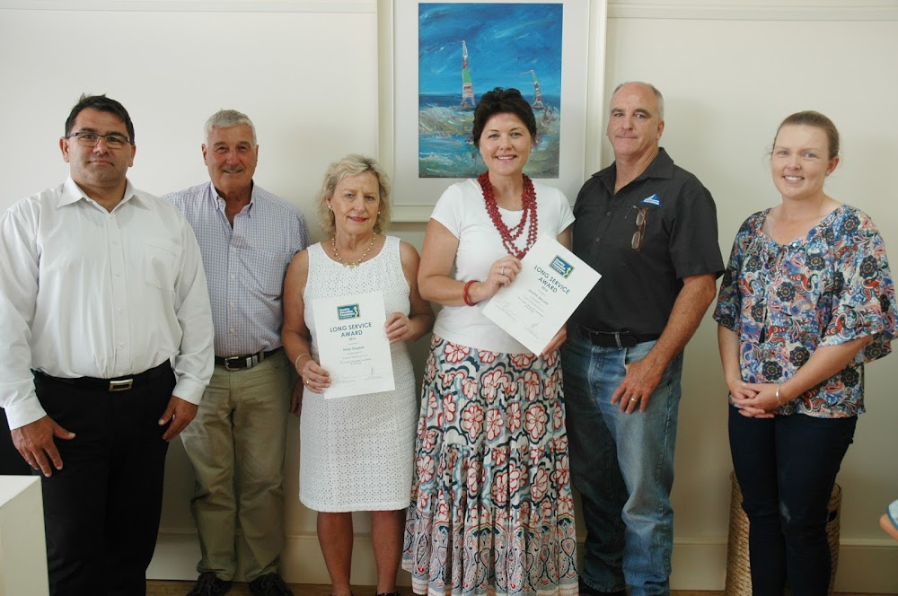 Long-serving Narrabri Education Foundation committee members Helen Dugdale and Jocellin Jansson are flanked by NEF chairman Horst Merten, sponsor Ron Campey, Whitehaven Coal community relations and property group manager Tim Muldoon and NEF sponsorship co-ordinator Bec Thistlethwaite.