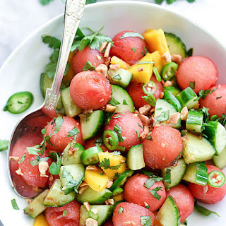 Cucumber Basil and Watermelon Salad with Love and Lemons