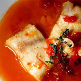 Spanish Style Cod with Tomato Saffron Broth.
