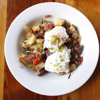 Skillet Corned Beef Hash With Poached Eggs
