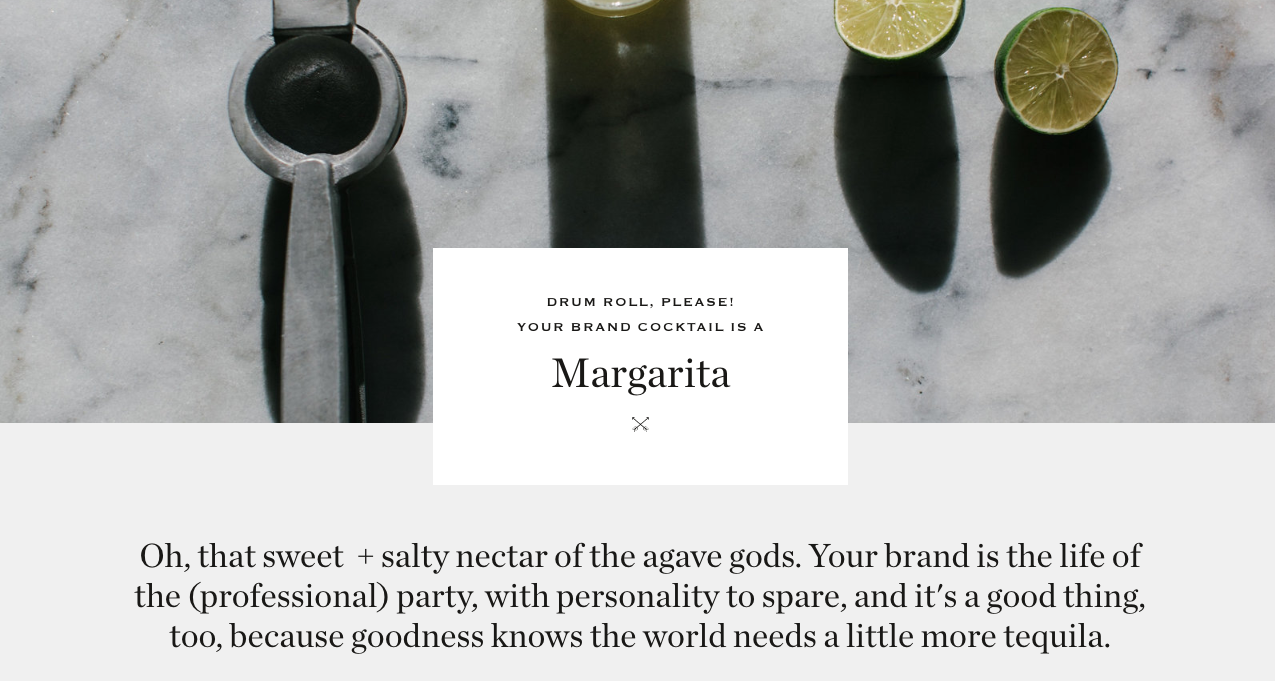margarita quiz results from Tonic Site Shop