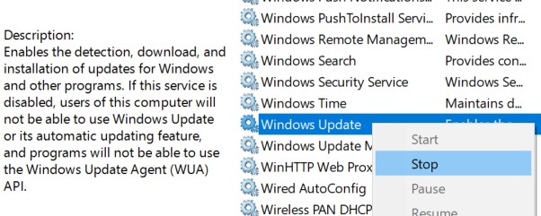 Locate the Windows Update service