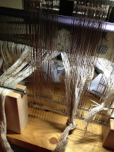 Photo: saori threading holder and classes in threading the heddles on the harnesses and dressing the loom