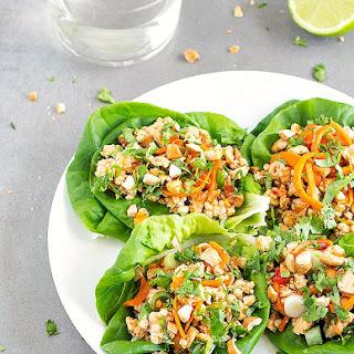 Healthy Asian Chicken Lettuce Wraps.