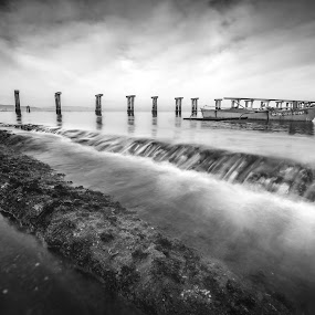 Concrete Beams by Raffy Nadayag - Black & White Landscapes ( old pier, b&w, black and white, bw, seascape, fishing boat )