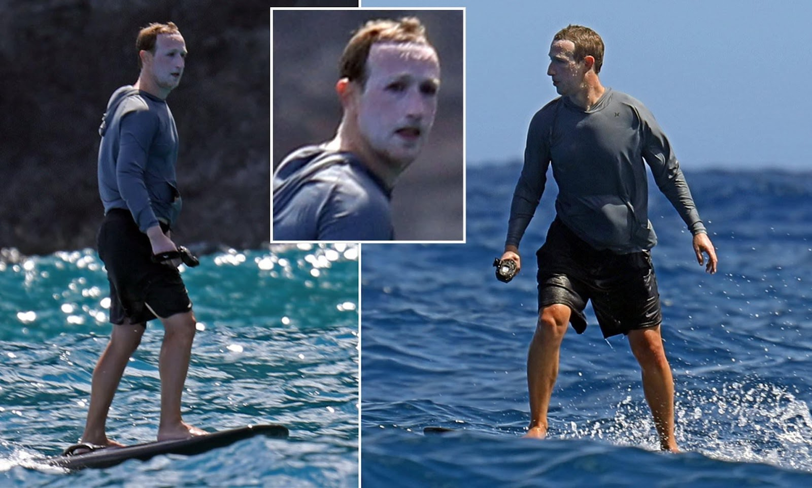 Mark Zuckerberg covered in sunscreen as he surfs in Hawaii | Daily ...