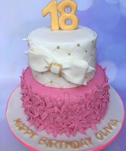18th white and pink birthday cake