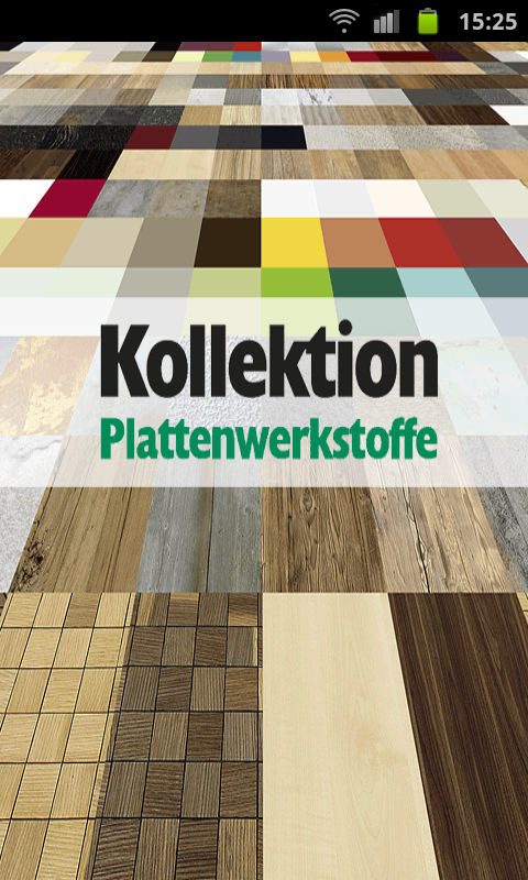 Kollektion Plattenwerkstoffe – Screenshot