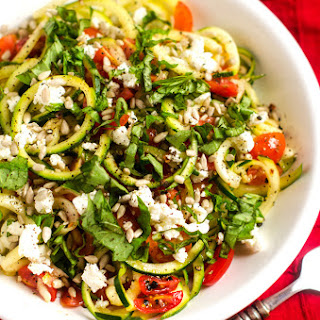 Shaved Zucchini Salad with Tomatoes and Goat Cheese.
