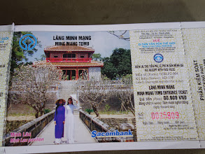 Photo: VIETNAM Hué - tombeau de Minh Mang ticket d'entrée