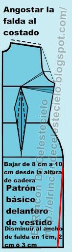 En patrón delantero de vestido ajustando falda tubo o lápiz