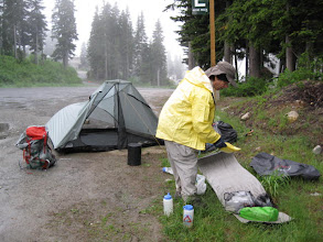 Photo: Efforts to lighten up the pack weight: Osprey Exos 58 backpack - under 3 lbs, and 4 oz rain jacket (only $25!!).