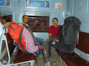 Photo: Ketan Vaidya and Sunny Jamshedji starting our journey from Matunga to CST on a local train.