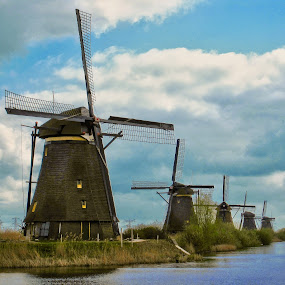 Kinderdijk - Netherlands by Fabio Ferraro - Travel Locations Landmarks ( rotterdam, kinderdijk, holland, windmills, netherlands )