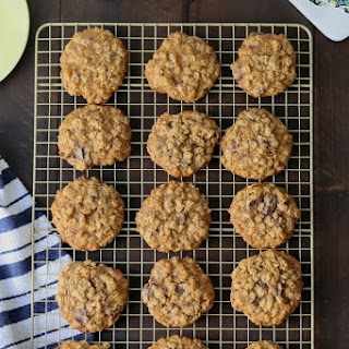 Classic Chewy Oatmeal Cookies with dark chocolate and ginger.