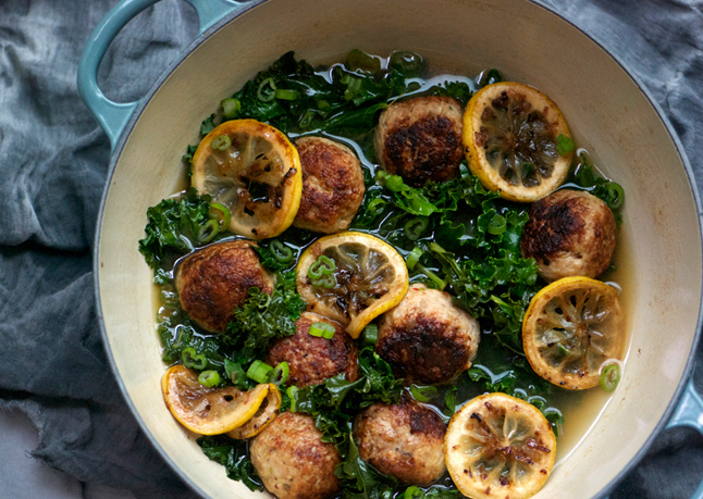 Gluten-Free Chicken Meatballs with Braised Lemon and Kale Recipe ...