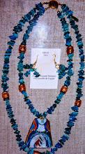 Photo: Copper enamel pendant, chrysocolla, copper  SOLD/ПРОДАНИЙ