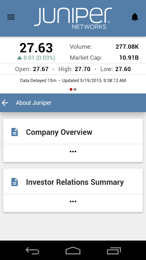 Juniper Networks Investor App- screenshot