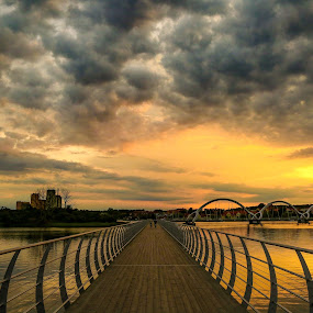 Cloudy sunset  by Joachim Persson - Buildings & Architecture Bridges & Suspended Structures ( clouds, water, sweden, sky, sunset, bridge, city )