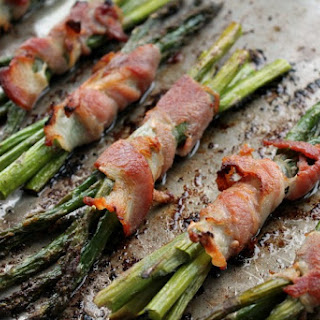 Bacon wrapped Roasted Asparagus.