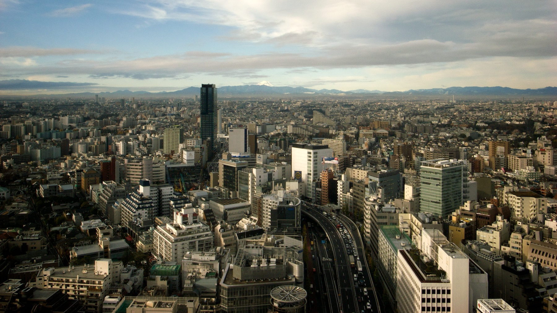 Photo: On a clear day in Tokyo, you can see Mt Fuji off in the distance.