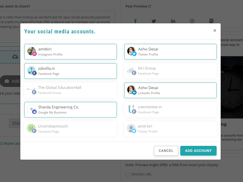 add more social accounts - recurpost  - social media scheduler
