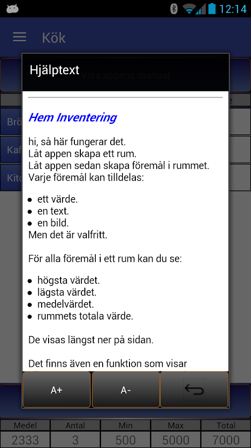 Hem inventering- screenshot