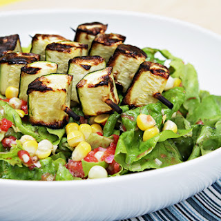 Butter Lettuce Salad with Grilled Zucchini Skewers and Tomato Vinaigrette Recipe