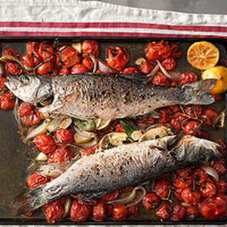 Quick-Roasted Branzino with Dry Vermouth and Tomatoes
