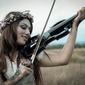 The Princess of Violin by Imal Prayitno - People Portraits of Women