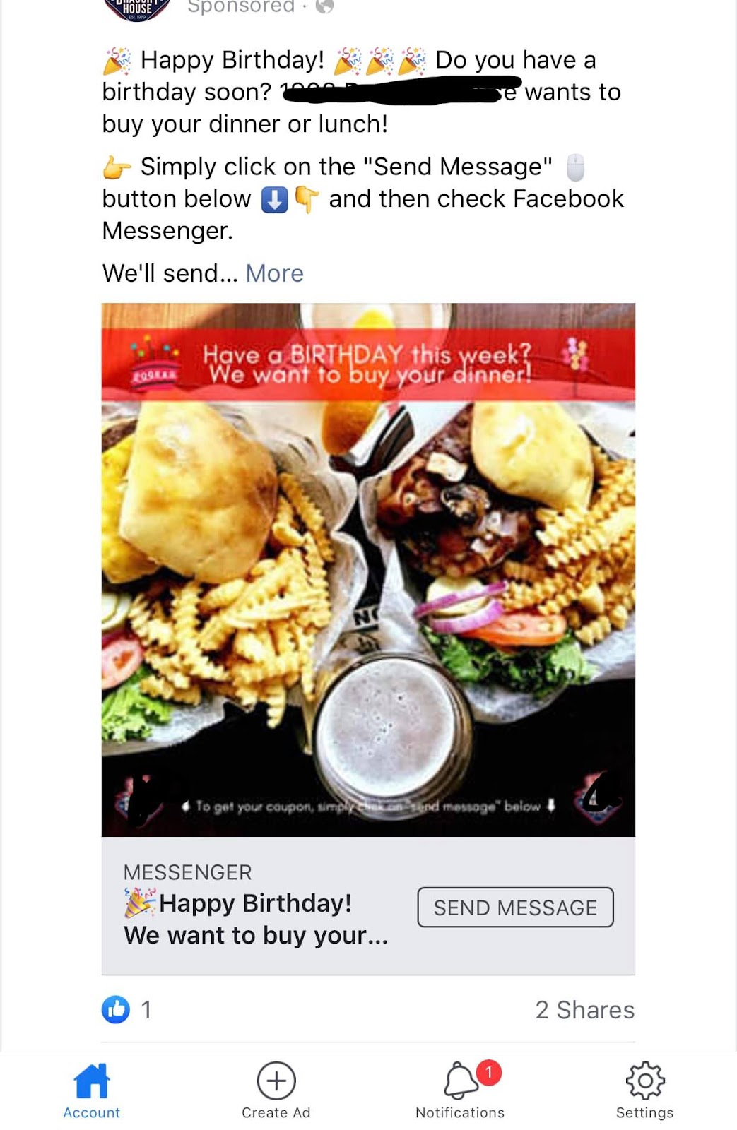 Birthday Bot Messenger Ad Example