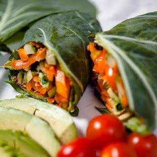Vegan Chipotle Veggie Collard Wrap.