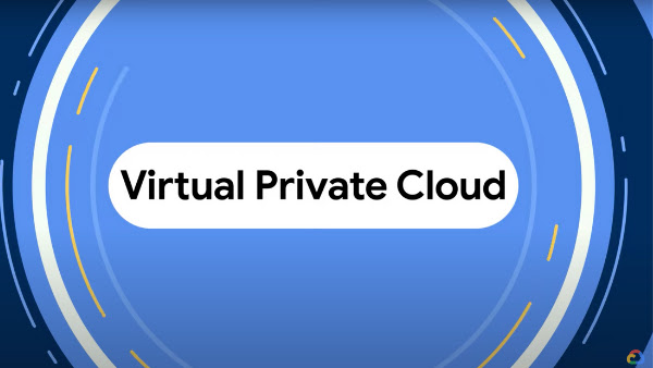 Blue circle that fills the screen with 'Virtual Private Cloud' in the middle