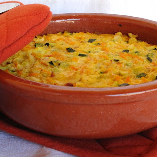 Baked Vegetable and Fish Pudding.