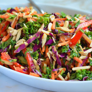 Asian Kale Slaw with Ginger Peanut Dressing.