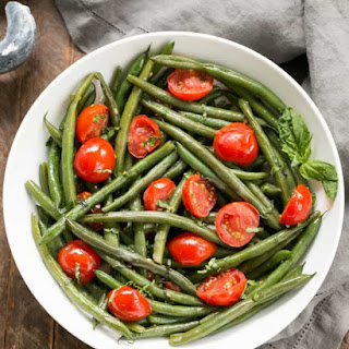 Haricot Verts with Grape Tomatoes.