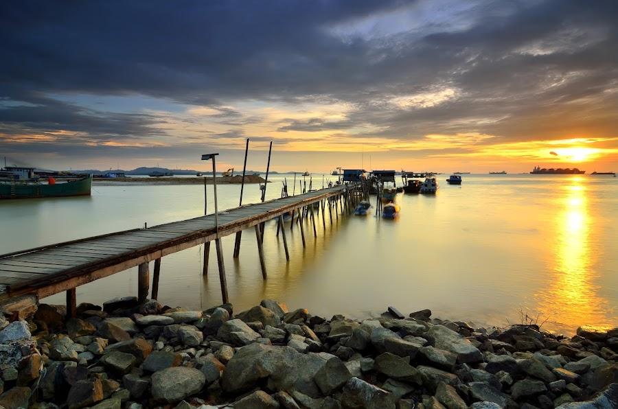 Twilight at pier by Irwansyah St - Landscapes Sunsets & Sunrises ( water, indonesia, sunset, pier, sunrise, landscape, sun, batam )